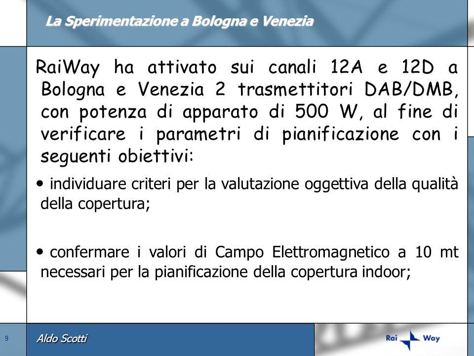 Aldo Scotti 9 RaiWay ha attivato sui canali 12A e 12D a Bologna e Venezia 2 trasmettitori DAB/DMB, con potenza di apparato di 500 W, al fine di verifi