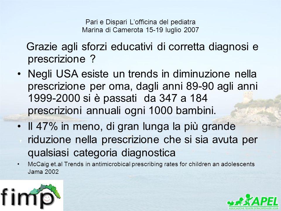 Pari e Dispari Lofficina del pediatra Marina di Camerota 15-19 luglio 2007 Grazie agli sforzi educativi di corretta diagnosi e prescrizione ? Negli US