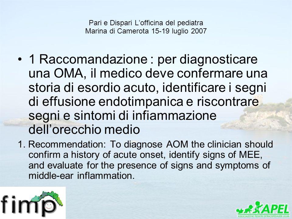 Pari e Dispari Lofficina del pediatra Marina di Camerota 15-19 luglio 2007 1 Raccomandazione : per diagnosticare una OMA, il medico deve confermare un