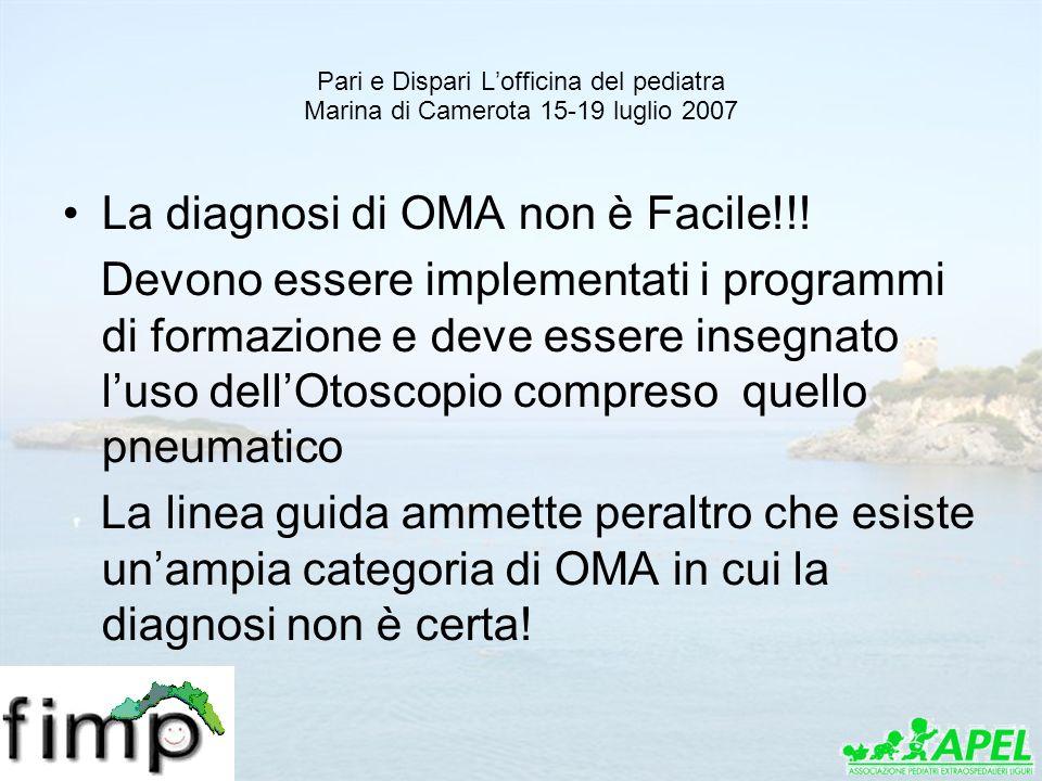 Pari e Dispari Lofficina del pediatra Marina di Camerota 15-19 luglio 2007 La diagnosi di OMA non è Facile!!! Devono essere implementati i programmi d