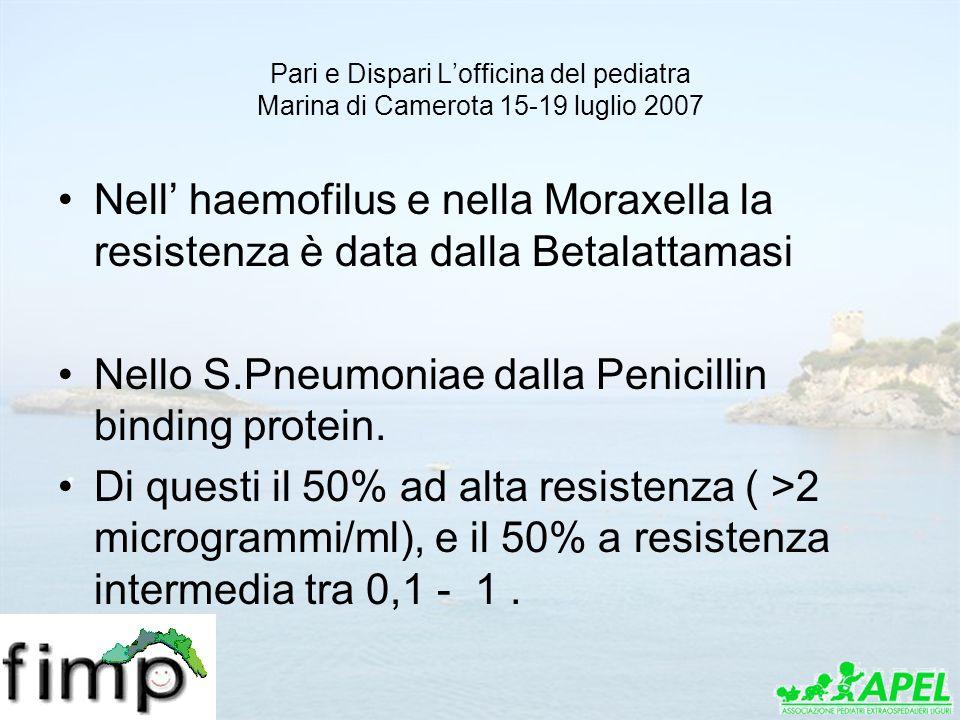 Pari e Dispari Lofficina del pediatra Marina di Camerota 15-19 luglio 2007 Nell haemofilus e nella Moraxella la resistenza è data dalla Betalattamasi