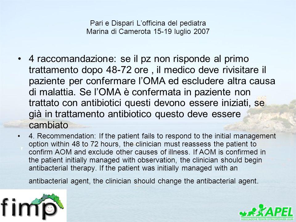 Pari e Dispari Lofficina del pediatra Marina di Camerota 15-19 luglio 2007 4 raccomandazione: se il pz non risponde al primo trattamento dopo 48-72 or