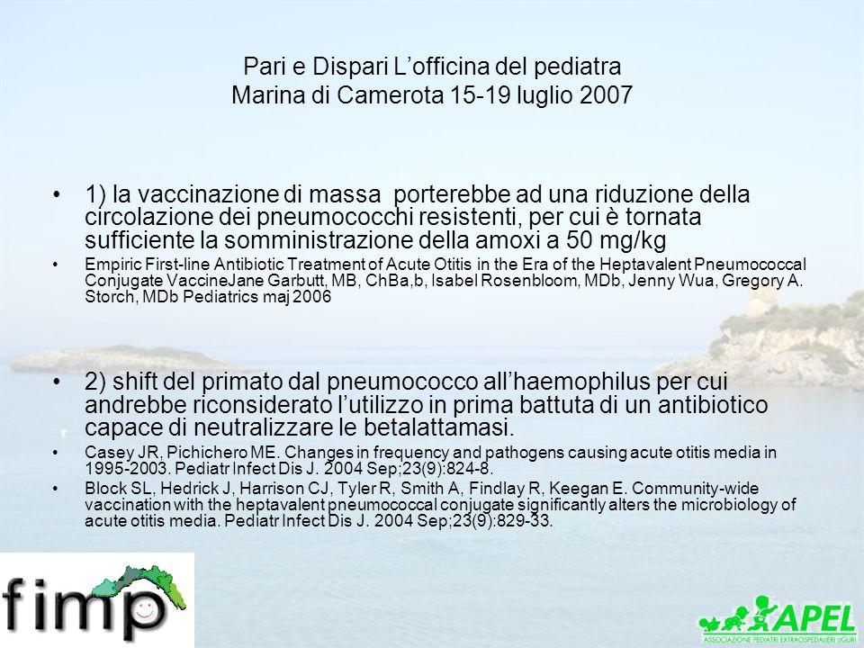 Pari e Dispari Lofficina del pediatra Marina di Camerota 15-19 luglio 2007 1) la vaccinazione di massa porterebbe ad una riduzione della circolazione