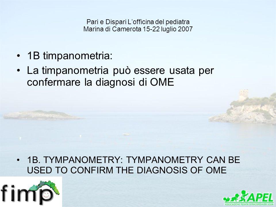 Pari e Dispari Lofficina del pediatra Marina di Camerota 15-22 luglio 2007 1B timpanometria: La timpanometria può essere usata per confermare la diagn