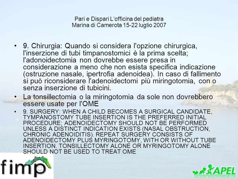 Pari e Dispari Lofficina del pediatra Marina di Camerota 15-22 luglio 2007 9. Chirurgia: Quando si considera l'opzione chirurgica, l'inserzione di tub