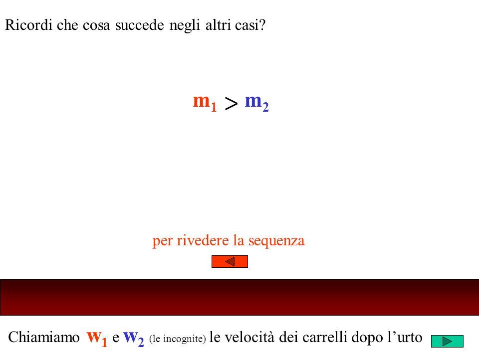 Chiamiamo w 1 e w 2 (le incognite) le velocità dei carrelli dopo lurto Ricordi che cosa succede negli altri casi? m1m1 m2m2 per rivedere la sequenza