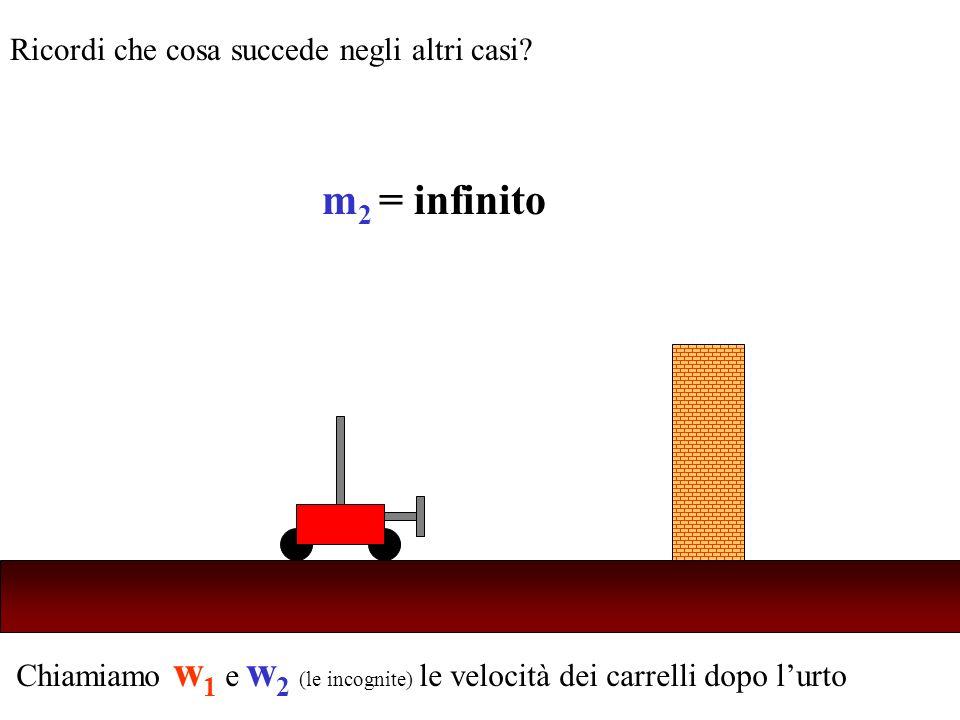 Chiamiamo w 1 e w 2 (le incognite) le velocità dei carrelli dopo lurto Ricordi che cosa succede negli altri casi? m 2 = infinito