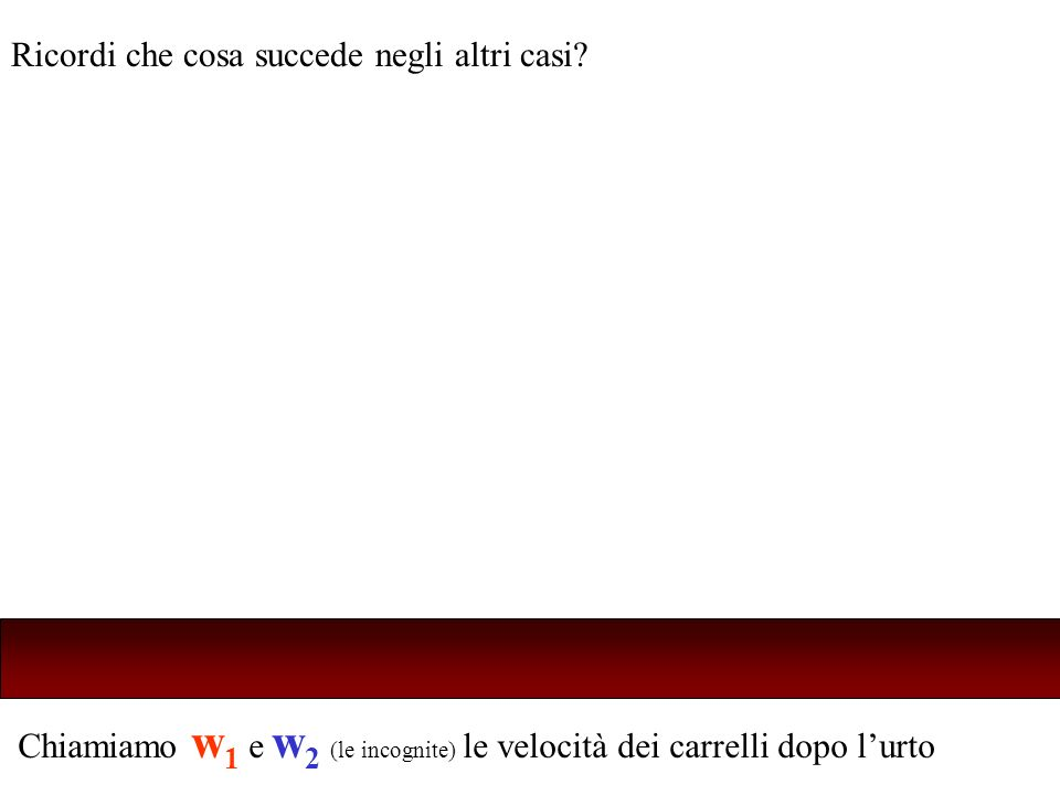 Chiamiamo w 1 e w 2 (le incognite) le velocità dei carrelli dopo lurto Ricordi che cosa succede negli altri casi?
