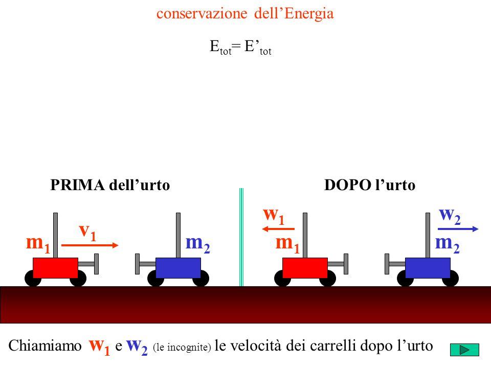 Chiamiamo w 1 e w 2 (le incognite) le velocità dei carrelli dopo lurto m2m2 v1v1 m1m1 m2m2 w1w1 m1m1 w2w2 PRIMA dellurtoDOPO lurto conservazione dellEnergia E tot = E tot