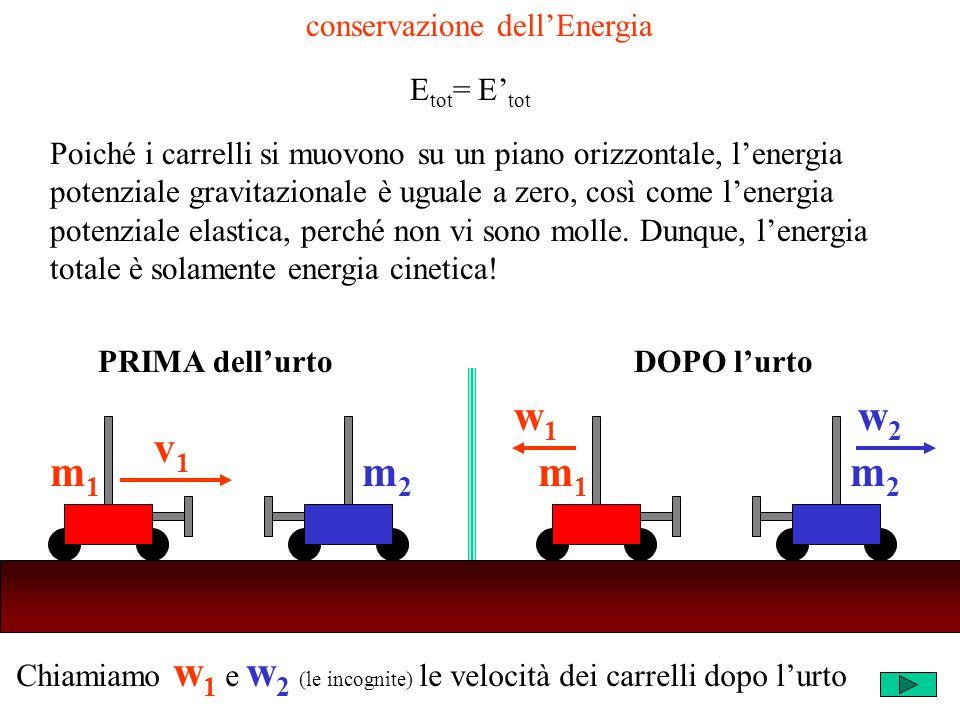 Chiamiamo w 1 e w 2 (le incognite) le velocità dei carrelli dopo lurto m2m2 v1v1 m1m1 m2m2 w1w1 m1m1 w2w2 PRIMA dellurtoDOPO lurto conservazione dellE