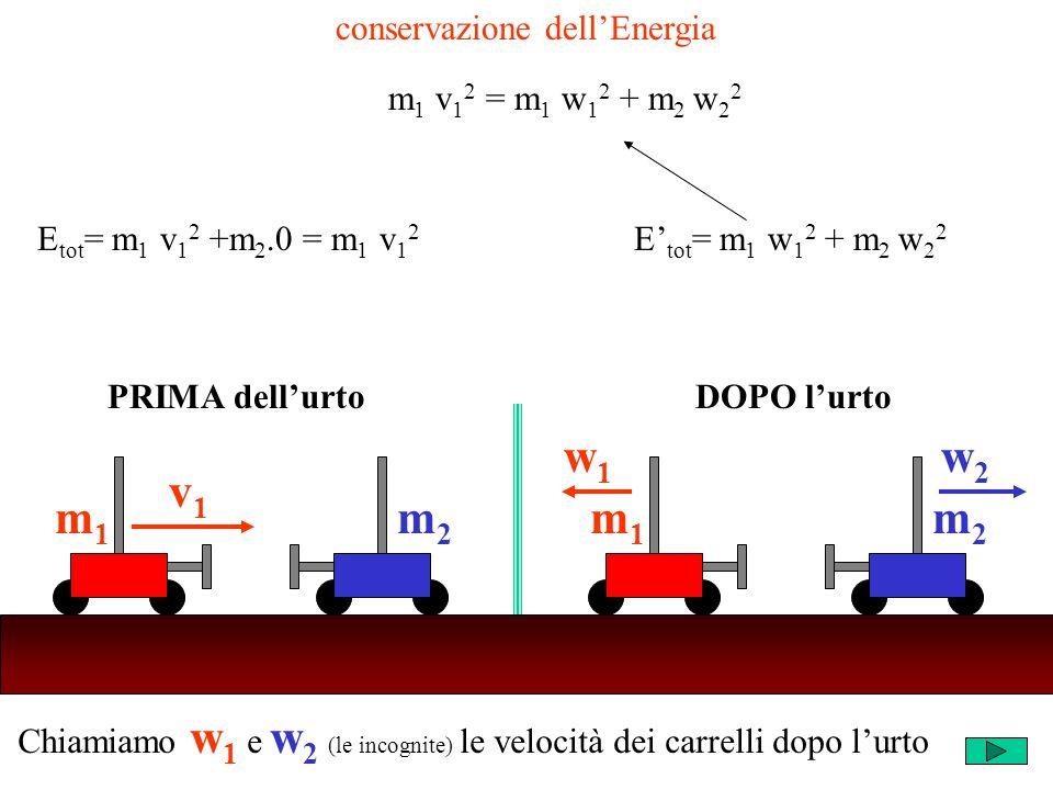 Chiamiamo w 1 e w 2 (le incognite) le velocità dei carrelli dopo lurto m2m2 v1v1 m1m1 m2m2 w1w1 m1m1 w2w2 PRIMA dellurtoDOPO lurto conservazione dellEnergia m 1 v 1 2 = m 1 w 1 2 + m 2 w 2 2 E tot = m 1 v 1 2 +m 2.0 = m 1 v 1 2 E tot = m 1 w 1 2 + m 2 w 2 2