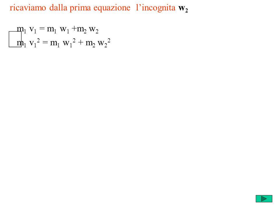 ricaviamo dalla prima equazione lincognita w 2 m 1 v 1 2 = m 1 w 1 2 + m 2 w 2 2 m 1 v 1 = m 1 w 1 +m 2 w 2