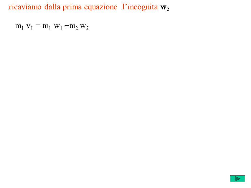 ricaviamo dalla prima equazione lincognita w 2 m 1 v 1 = m 1 w 1 +m 2 w 2