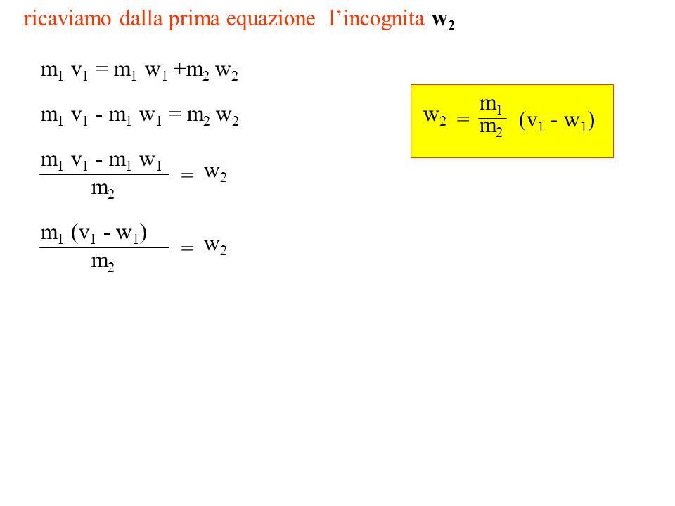 ricaviamo dalla prima equazione lincognita w 2 m 1 v 1 = m 1 w 1 +m 2 w 2 m 1 v 1 - m 1 w 1 = m 2 w 2 m 1 v 1 - m 1 w 1 m2m2 = w2w2 m 1 (v 1 - w 1 ) m2m2 = w2w2 m1m1 m2m2 = w2w2 (v 1 - w 1 )