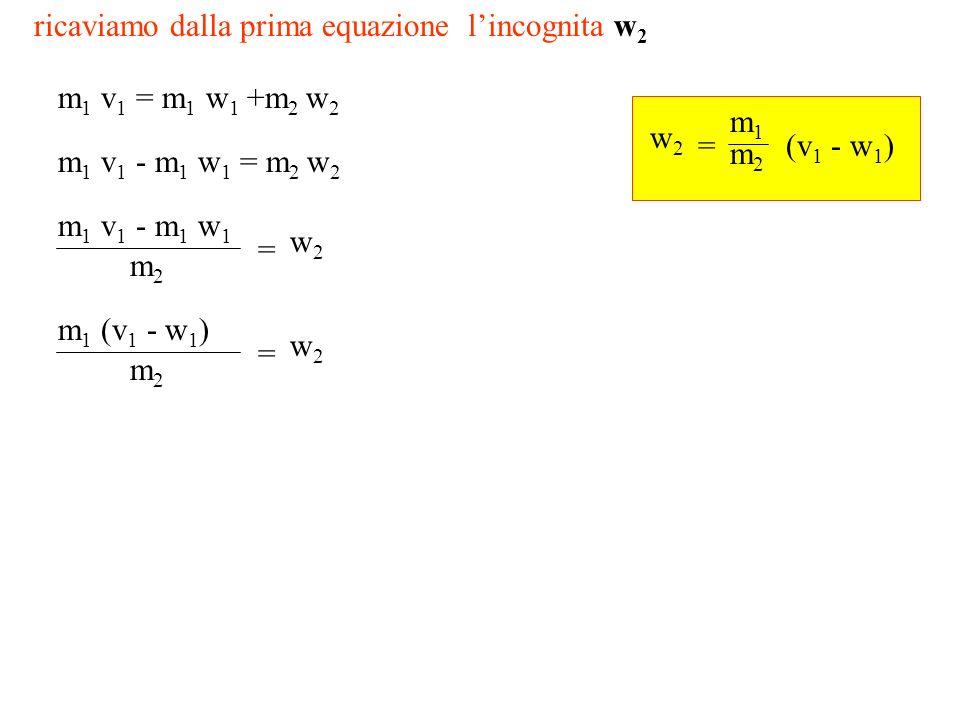 ricaviamo dalla prima equazione lincognita w 2 m 1 v 1 = m 1 w 1 +m 2 w 2 m 1 v 1 - m 1 w 1 = m 2 w 2 m 1 v 1 - m 1 w 1 m2m2 = w2w2 m 1 (v 1 - w 1 ) m