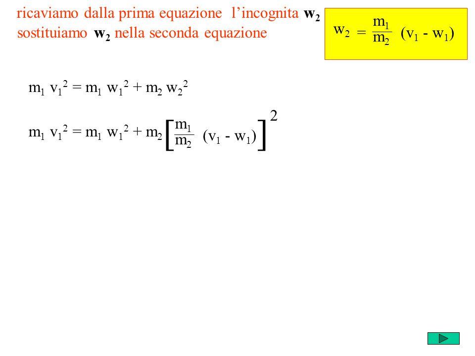 ricaviamo dalla prima equazione lincognita w 2 m1m1 m2m2 = w2w2 (v 1 - w 1 ) m 1 v 1 2 = m 1 w 1 2 + m 2 w 2 2 sostituiamo w 2 nella seconda equazione m 1 v 1 2 = m 1 w 1 2 + m 2 m1m1 m2m2 (v 1 - w 1 ) [] 2