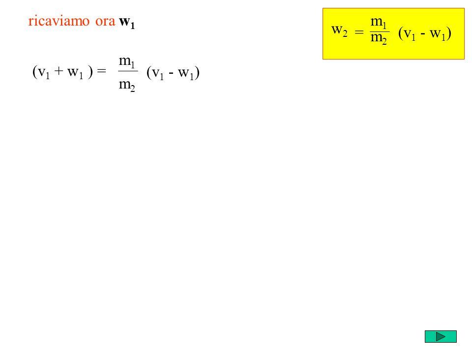 m1m1 m2m2 = w2w2 ricaviamo ora w 1 (v 1 + w 1 ) = m1m1 m2m2 (v 1 - w 1 )