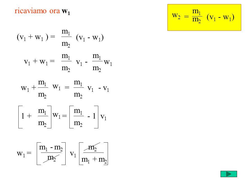 m1m1 m2m2 w1w1 m1m1 m2m2 = w2w2 (v 1 - w 1 ) ricaviamo ora w 1 (v 1 + w 1 ) = m1m1 m2m2 (v 1 - w 1 ) v 1 + w 1 = m1m1 m2m2 v 1 - w 1 m1m1 m2m2 w 1 + =v 1 - v 1 m1m1 m2m2 w1w1 m1m1 m2m2 1 + =- 1 v 1 m1m1 m2m2 w 1 = m 1 - m 2 m2m2 v1v1 m 1 + m 2 m2m2