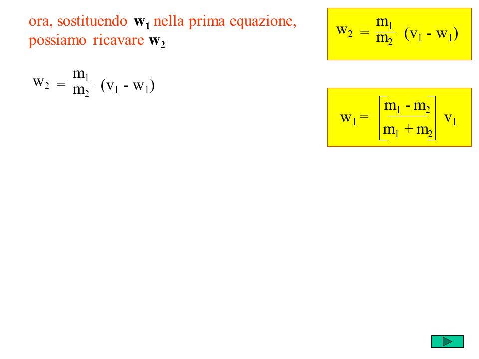 m1m1 m2m2 = w2w2 (v 1 - w 1 ) ora, sostituendo w 1 nella prima equazione, possiamo ricavare w 2 w 1 = m 1 - m 2 v1v1 m 1 + m 2 m2m2 = w2w2 (v 1 - w 1