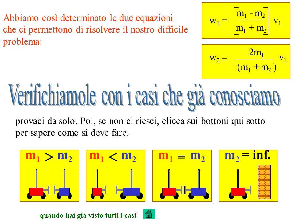 quando hai già visto tutti i casi Abbiamo così determinato le due equazioni che ci permettono di risolvere il nostro difficile problema: w 1 = m 1 - m 2 v1v1 m 1 + m 2 = w2w2 2m 1 v1v1 (m 1 + m 2 ) m1m1 m2m2 m1m1 m2m2 m1m1 m2m2 = m 2 = inf.