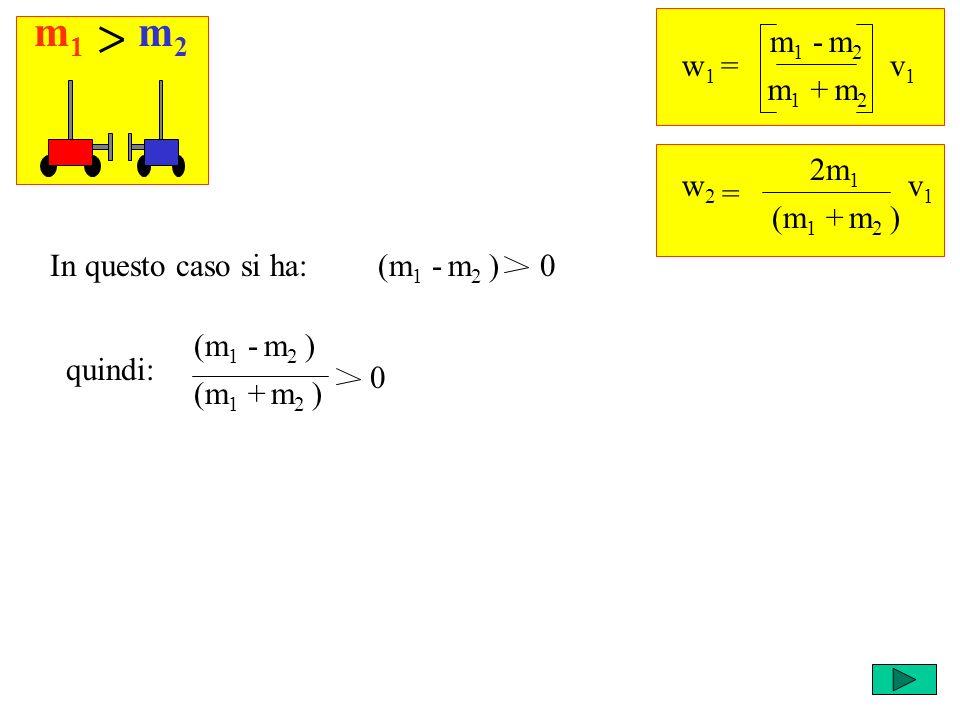 m1m1 m2m2 w 1 = m 1 - m 2 v1v1 m 1 + m 2 = w2w2 2m 1 v1v1 (m 1 + m 2 ) (m 1 - m 2 ) 0In questo caso si ha: (m 1 - m 2 ) quindi: (m 1 + m 2 ) 0