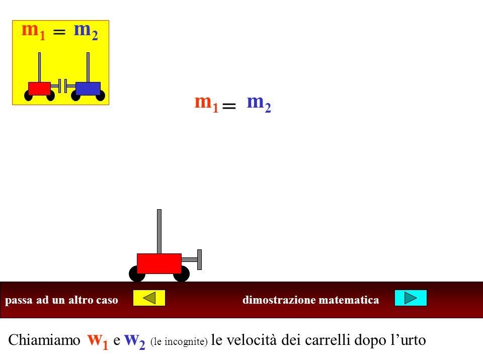 Chiamiamo w 1 e w 2 (le incognite) le velocità dei carrelli dopo lurto Ricordi che cosa succede negli altri casi? m1m1 m2m2 = m1m1 m2m2 = passa ad un