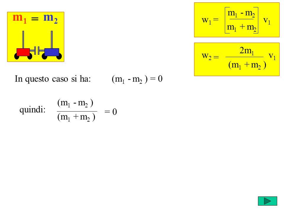 Ricordi che cosa succede negli altri casi? m1m1 m2m2 = w 1 = m 1 - m 2 v1v1 m 1 + m 2 = w2w2 2m 1 v1v1 (m 1 + m 2 ) (m 1 - m 2 ) = 0In questo caso si