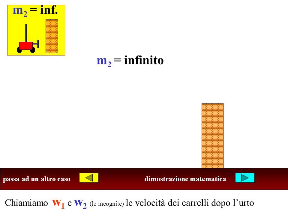 Chiamiamo w 1 e w 2 (le incognite) le velocità dei carrelli dopo lurto Ricordi che cosa succede negli altri casi? passa ad un altro casodimostrazione
