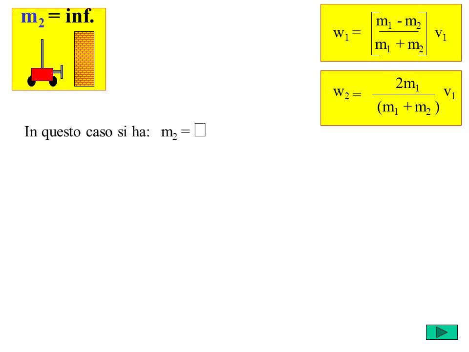 Ricordi che cosa succede negli altri casi? w 1 = m 1 - m 2 v1v1 m 1 + m 2 = w2w2 2m 1 v1v1 (m 1 + m 2 ) m 2 = In questo caso si ha: m 2 = inf.