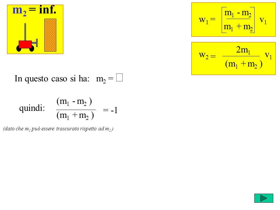 quindi: Ricordi che cosa succede negli altri casi? w 1 = m 1 - m 2 v1v1 m 1 + m 2 = w2w2 2m 1 v1v1 (m 1 + m 2 ) m 2 = In questo caso si ha: (m 1 - m 2