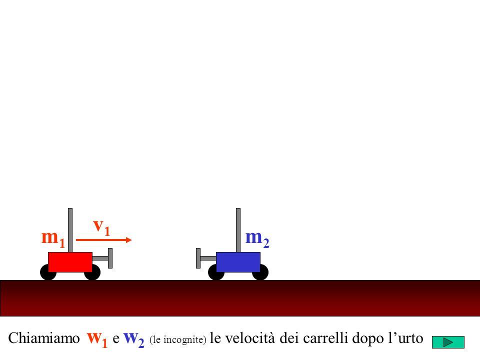 Chiamiamo w 1 e w 2 (le incognite) le velocità dei carrelli dopo lurto m2m2 v1v1 m1m1 m2m2 w1w1 m1m1 w2w2 PRIMA dellurtoDOPO lurto conservazione della quantità di moto Q tot = m 1 v 1 +m 2.0 = m 1 v 1 Q tot = m 1 w 1 +m 2 w 2 Q tot = Q tot