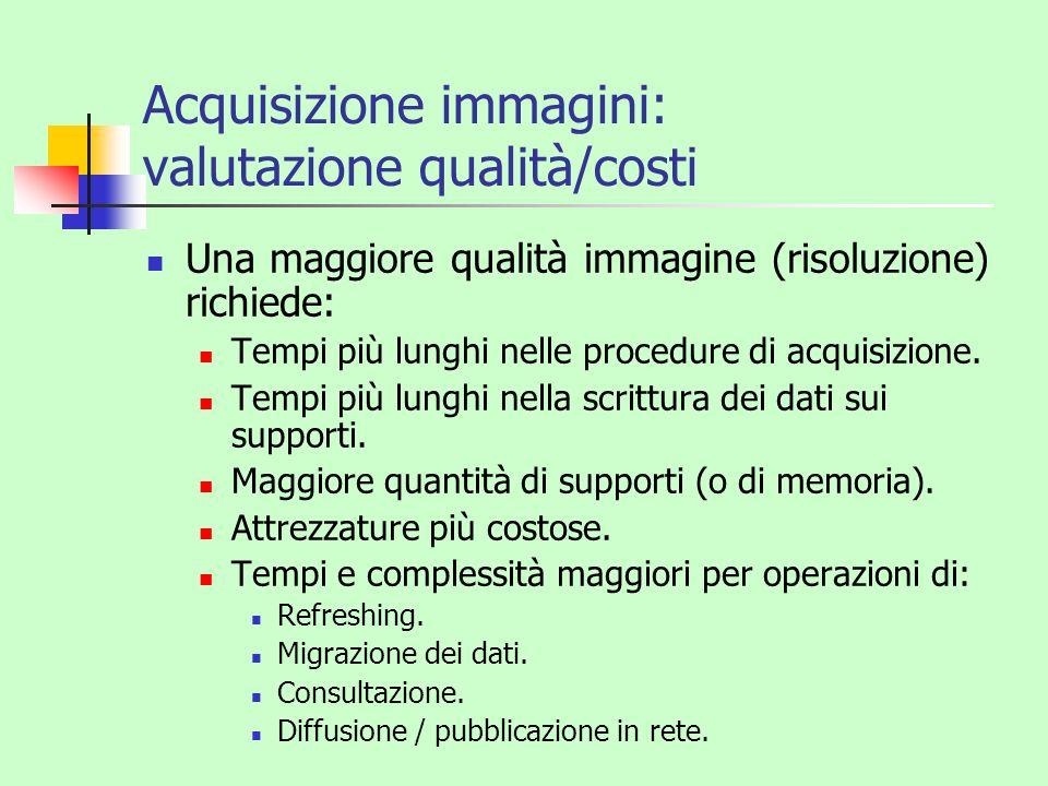 Acquisizione immagini: valutazione qualità/costi Una maggiore qualità immagine (risoluzione) richiede: Tempi più lunghi nelle procedure di acquisizion