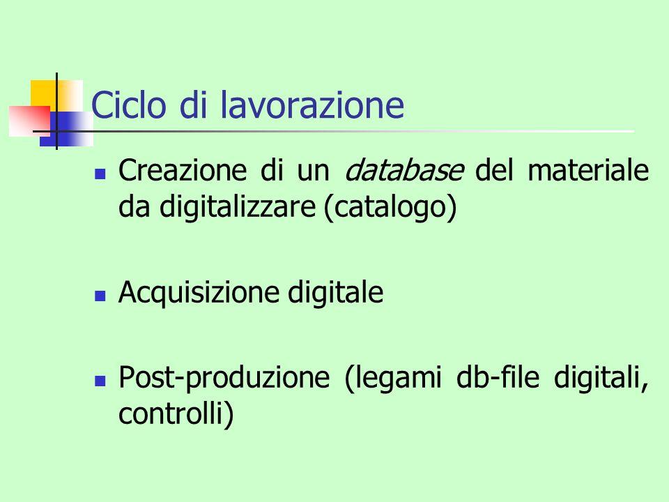 Ciclo di lavorazione Creazione di un database del materiale da digitalizzare (catalogo) Acquisizione digitale Post-produzione (legami db-file digitali
