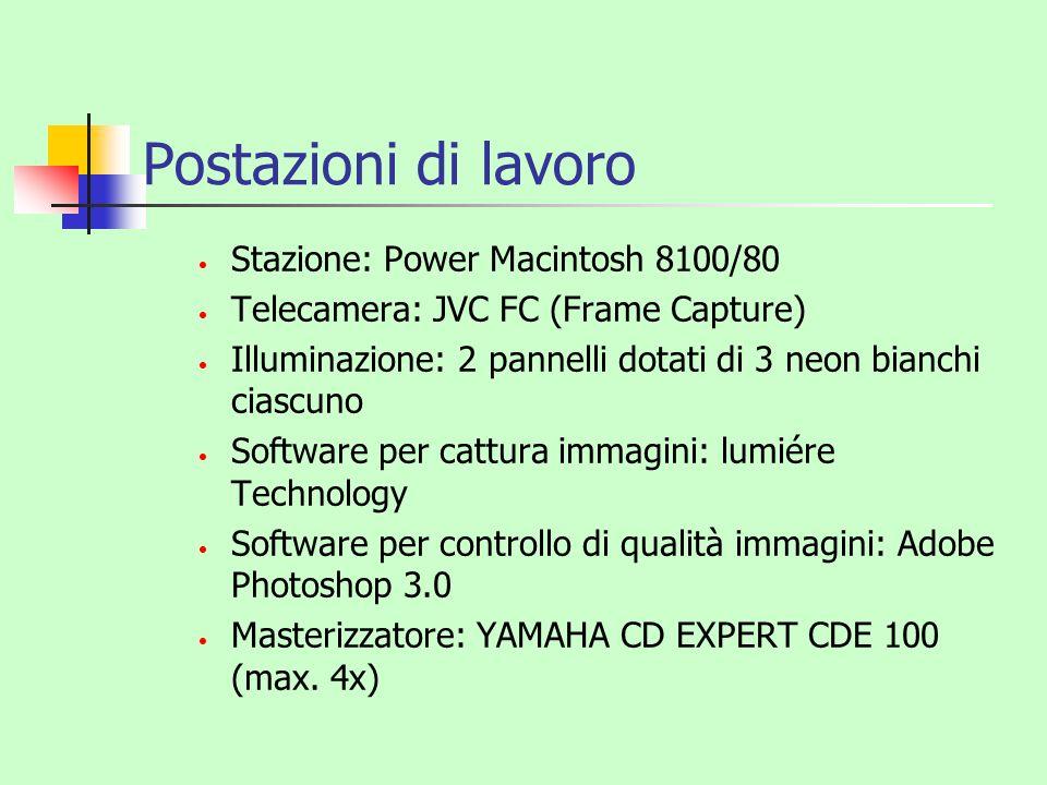 Postazioni di lavoro Stazione: Power Macintosh 8100/80 Telecamera: JVC FC (Frame Capture) Illuminazione: 2 pannelli dotati di 3 neon bianchi ciascuno