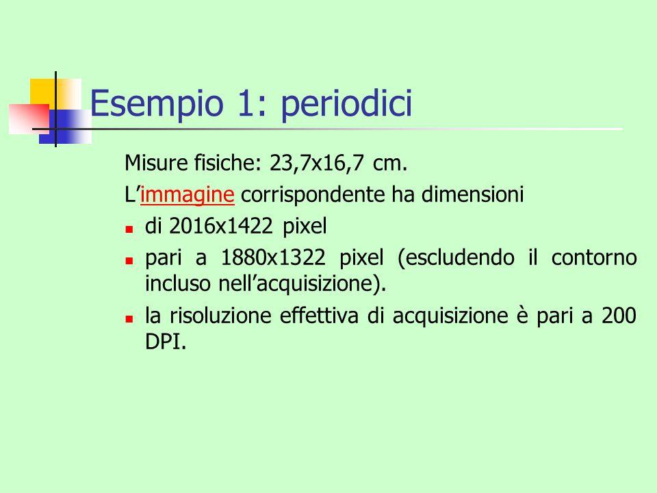 Esempio 1: periodici Misure fisiche: 23,7x16,7 cm. Limmagine corrispondente ha dimensioniimmagine di 2016x1422 pixel pari a 1880x1322 pixel (escludend