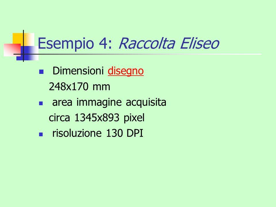 Esempio 4: Raccolta Eliseo Dimensioni disegnodisegno 248x170 mm area immagine acquisita circa 1345x893 pixel risoluzione 130 DPI