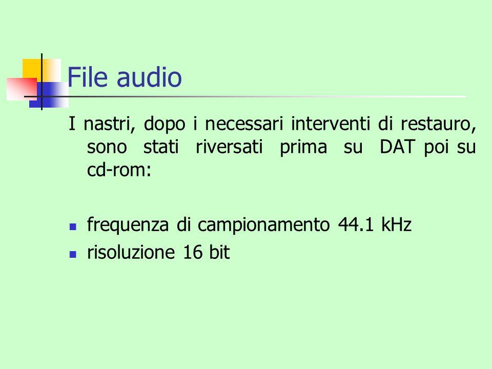 File audio I nastri, dopo i necessari interventi di restauro, sono stati riversati prima su DAT poi su cd-rom: frequenza di campionamento 44.1 kHz ris