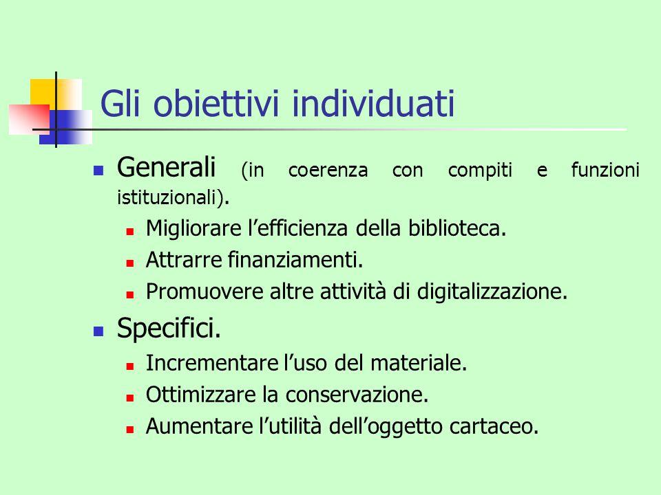 Gli obiettivi individuati Generali (in coerenza con compiti e funzioni istituzionali). Migliorare lefficienza della biblioteca. Attrarre finanziamenti
