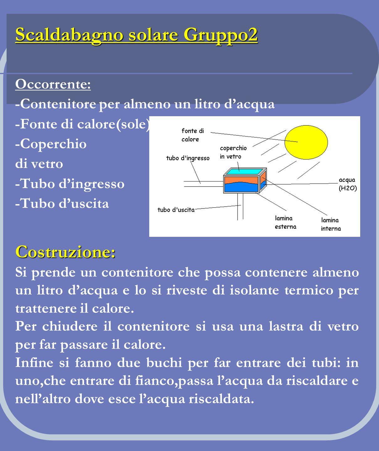 Scaldabagno solare Gruppo2 Occorrente: -Contenitore per almeno un litro dacqua -Fonte di calore(sole) -Coperchio di vetro -Tubo dingresso -Tubo duscit