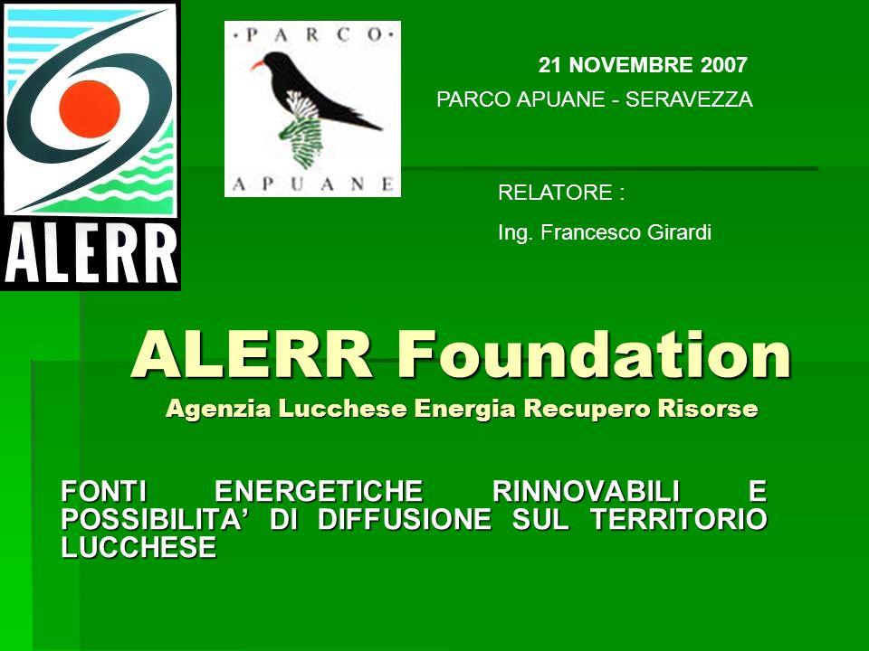 FONTI ENERGETICHE RINNOVABILI E POSSIBILITA DI DIFFUSIONE SUL TERRITORIO LUCCHESE 21 NOVEMBRE 2007 ALERR Foundation Agenzia Lucchese Energia Recupero