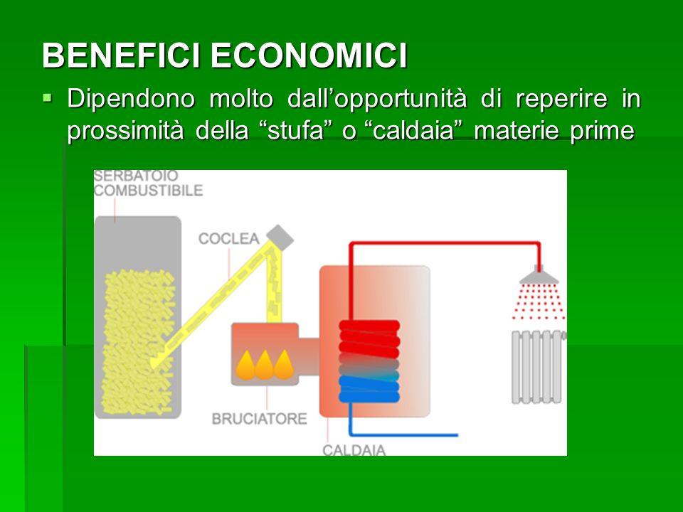 BENEFICI ECONOMICI Dipendono molto dallopportunità di reperire in prossimità della stufa o caldaia materie prime Dipendono molto dallopportunità di re