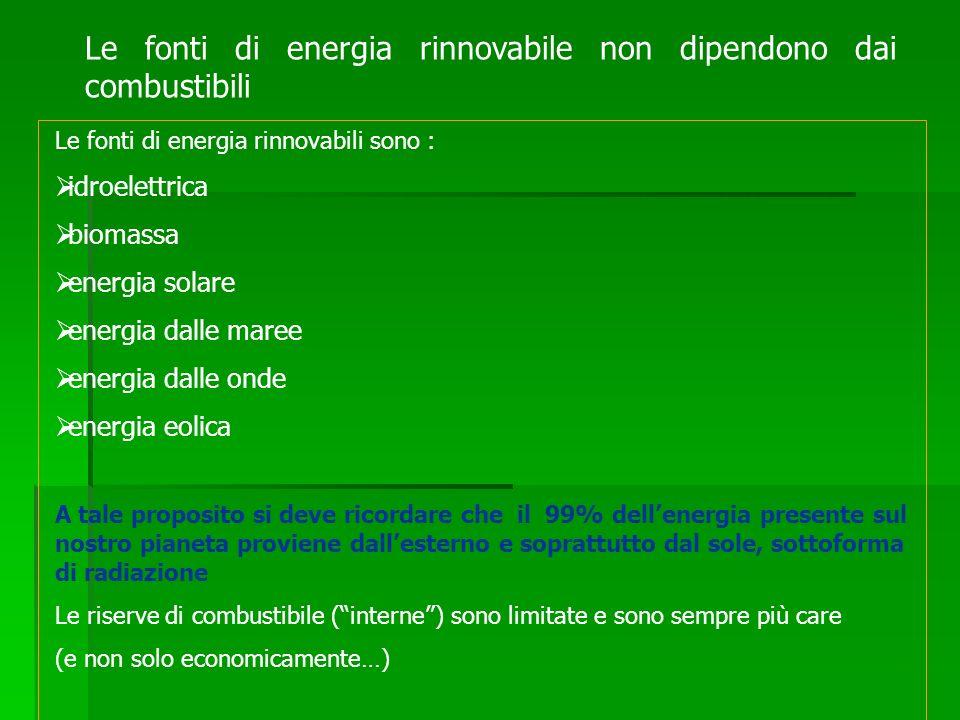 Le fonti di energia rinnovabili sono : idroelettrica biomassa energia solare energia dalle maree energia dalle onde energia eolica A tale proposito si
