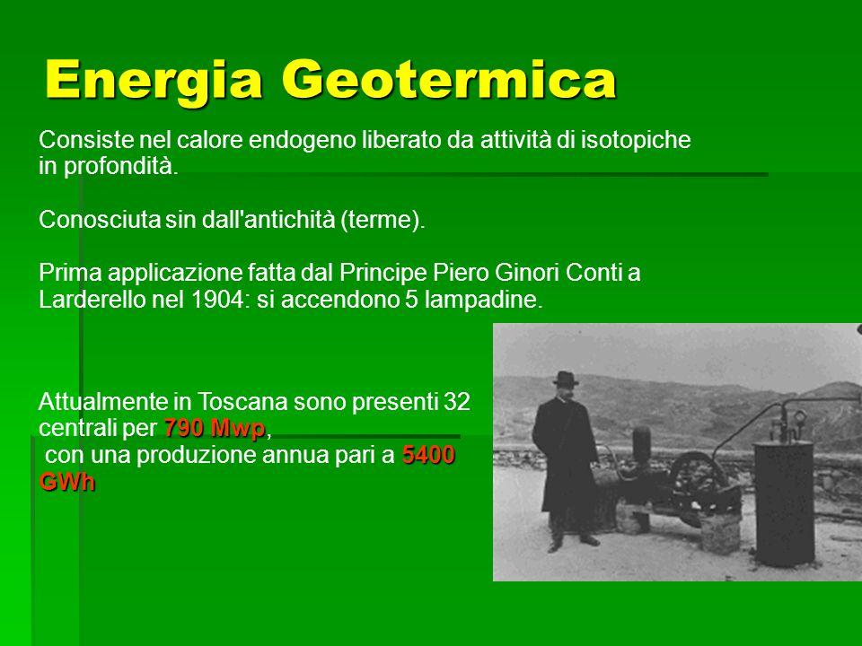 Energia Geotermica Consiste nel calore endogeno liberato da attività di isotopiche in profondità. Conosciuta sin dall'antichità (terme). Prima applica