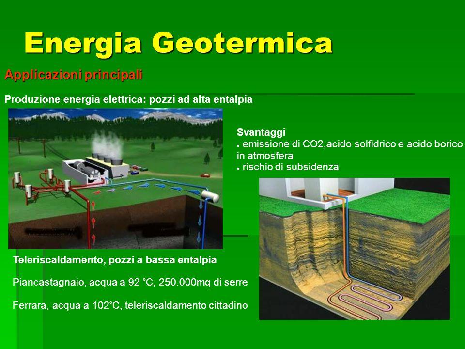 Applicazioni principali Produzione energia elettrica: pozzi ad alta entalpia Teleriscaldamento, pozzi a bassa entalpia Piancastagnaio, acqua a 92 °C,