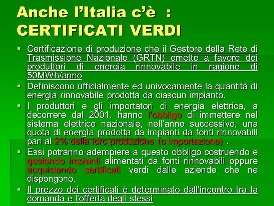 Anche lItalia cè : CERTIFICATI VERDI Certificazione di produzione che il Gestore della Rete di Trasmissione Nazionale (GRTN) emette a favore dei produ