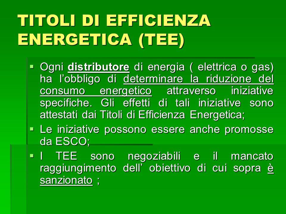 TITOLI DI EFFICIENZA ENERGETICA (TEE) Ogni distributore di energia ( elettrica o gas) ha lobbligo di determinare la riduzione del consumo energetico a