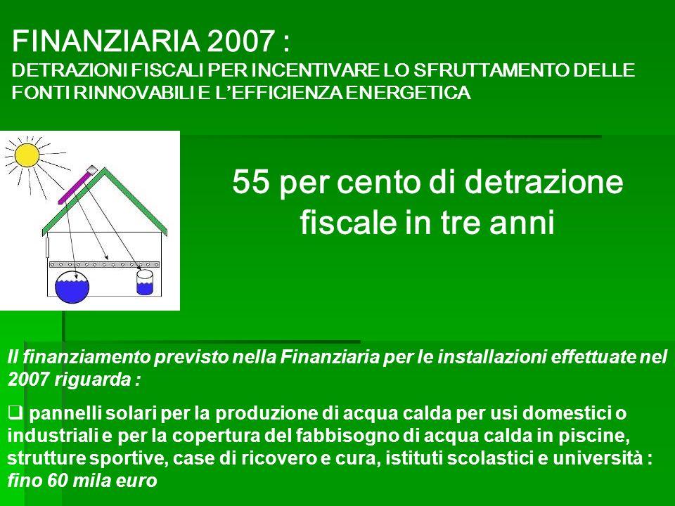 Il finanziamento previsto nella Finanziaria per le installazioni effettuate nel 2007 riguarda : pannelli solari per la produzione di acqua calda per u