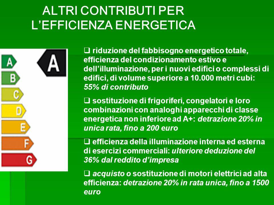 riduzione del fabbisogno energetico totale, efficienza del condizionamento estivo e dellilluminazione, per i nuovi edifici o complessi di edifici, di