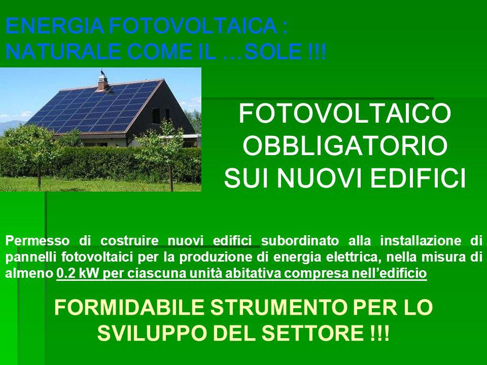 Permesso di costruire nuovi edifici subordinato alla installazione di pannelli fotovoltaici per la produzione di energia elettrica, nella misura di al