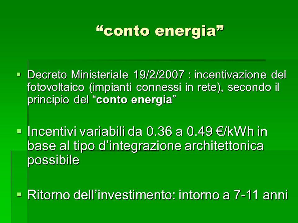 conto energia Decreto Ministeriale 19/2/2007 : incentivazione del fotovoltaico (impianti connessi in rete), secondo il principio del conto energia Dec